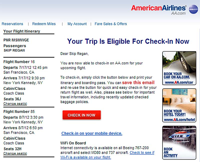 Tech | Skip Regan American Airlines Check In